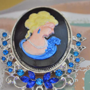 Jewelry - Hand Painted Cameo Brooch w/ Blue Rhinestones